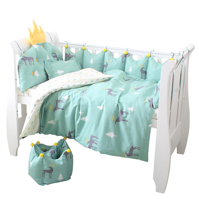 婴儿床床围防撞围可拆洗四件套儿童床围挡布床品套件纯棉床上用品