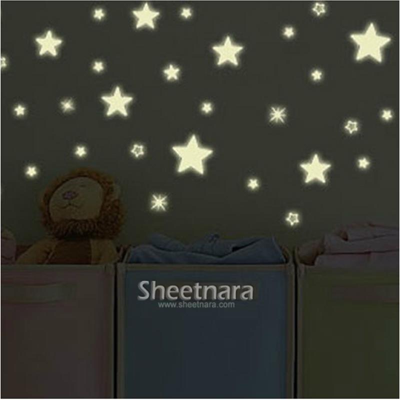 可移除卧室儿童房卡通创意小星星夜光贴纸发光墙贴学校宿舍荧光贴