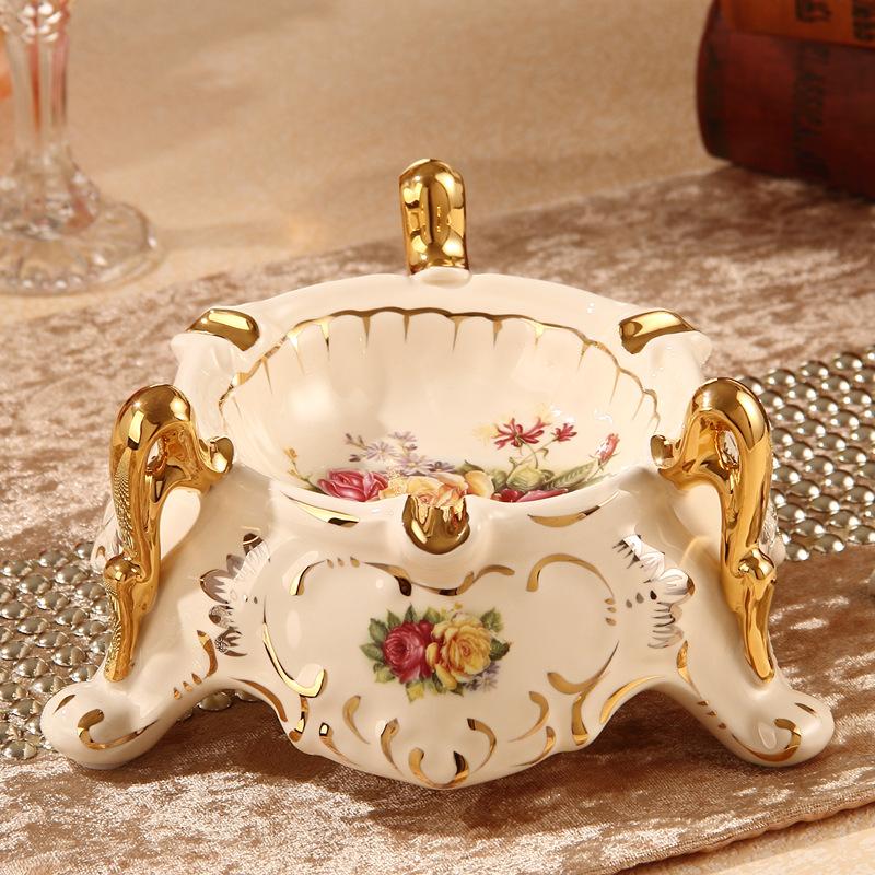 欧式陶瓷烟灰缸大号奢华时尚创意个性茶几烟缸 客厅装饰摆件礼品