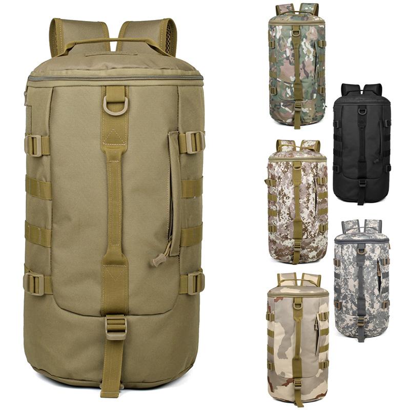 大容量韓版男包雙肩包潮 復古帆布男士揹包 戶外登山旅行包桶包