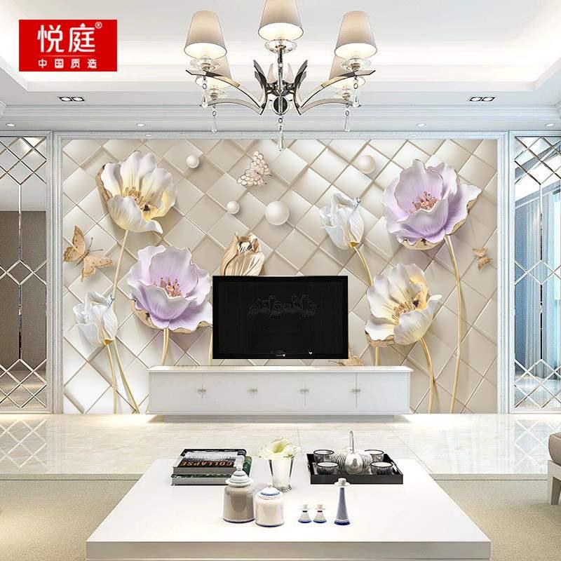 影视墙布 3d 壁画 8d 立体简约现代欧式大气装饰客厅 5d 电视背景墙壁纸