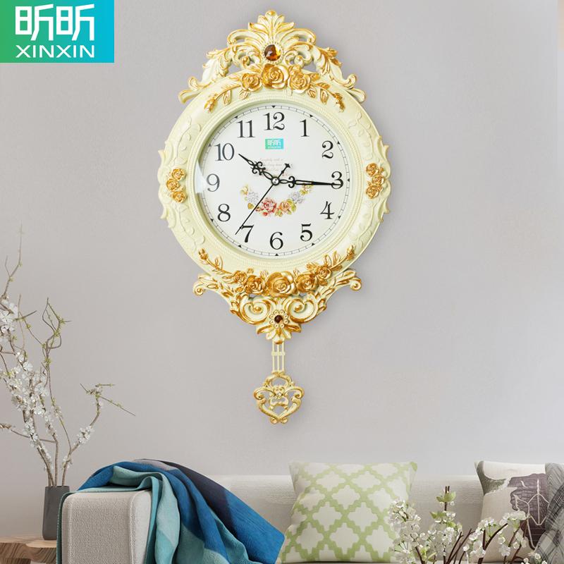欧式钟表圆形创意挂钟摇摆时尚个性挂表静音客厅时钟石英钟家用