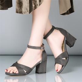 凉鞋女夏小码32粗跟33罗马鞋大码高跟鞋40宽胖脚41妈妈鞋43一字扣
