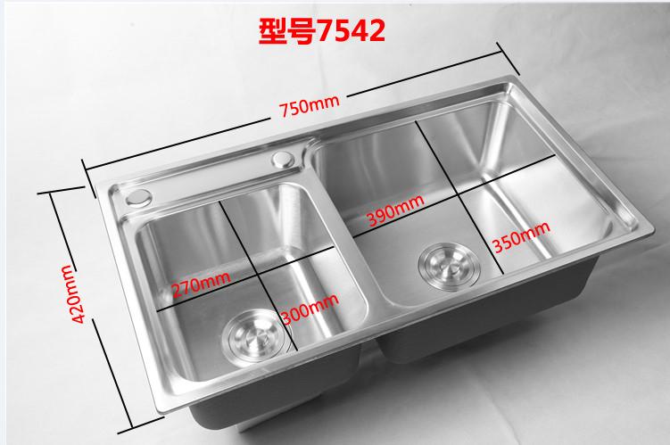 一体加厚水盆 不锈钢洗碗池左小右大 304 反向盆水槽洗菜盆厨房双槽