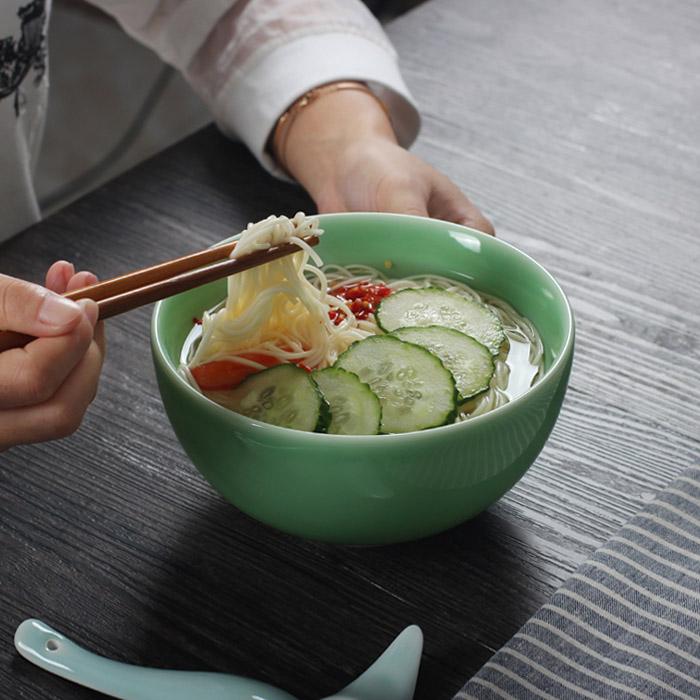 龍泉青瓷 麵碗湯碗大碗陶瓷 拉麵碗 泡麵碗 家用骨瓷大面碗 中式