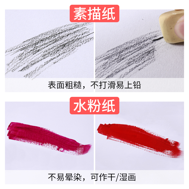 素描纸水粉纸4k8k画纸儿童学生用美术速写纸美术生图画纸白纸批发马克笔画画四开八开铅画纸