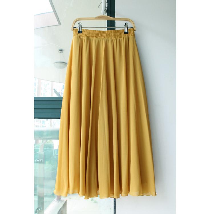 新款雪纺中长裙半身裙夏中裙A字大摆裙纯色伞裙半截裙子