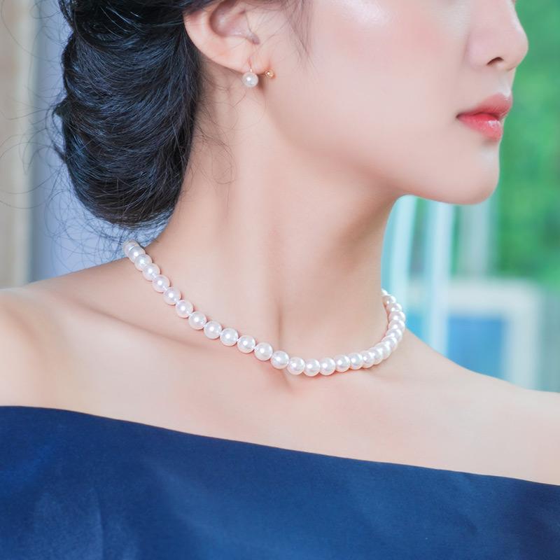 南珠宫贵气天成 正圆海水珍珠项链 强光925银扣送妈妈AKOYA女正品