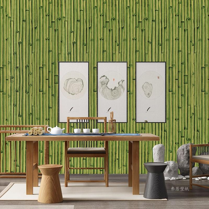 立体仿竹子竹席竹编墙纸绿色古风饭店餐厅工程竹纹壁纸 3d 中式复古