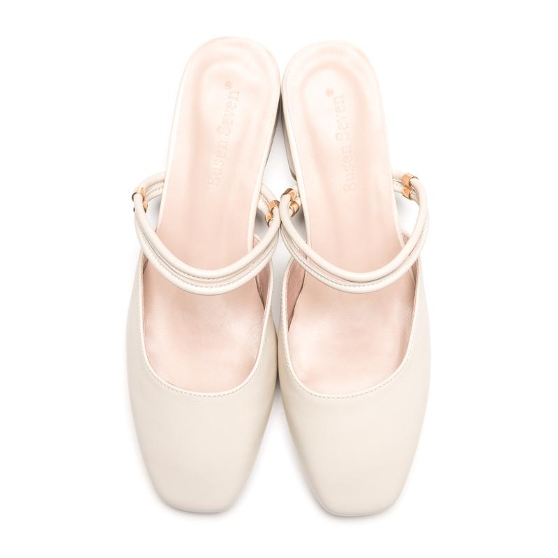 夏季新款半拖鞋 2020 柒步森林学生软真皮包方头中跟两穿时装凉鞋女