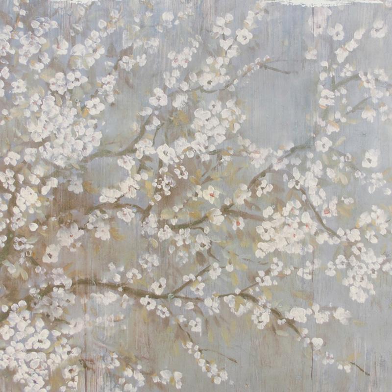 奇居良品 DF客厅书房现代装饰画墙面装饰挂画白色樱花无框挂画