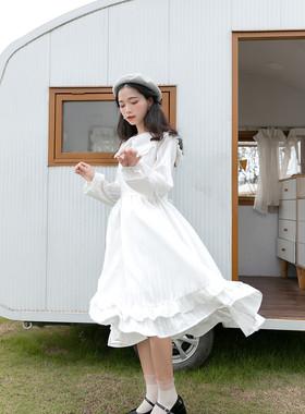 蝴蝶结连衣裙法式初恋裙百搭森系少女棉约会白色秋装新款中长