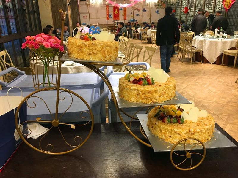 欧式铁艺自行车三层蛋糕架婚庆生日点心架多层甜品架子模型展示架