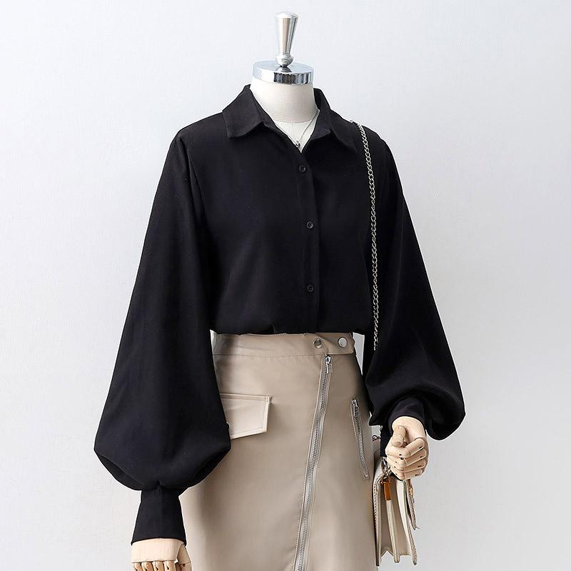 2021春秋款黑色灯笼袖衬衫女复古港味泡泡长袖上衣设计感小众衬衣