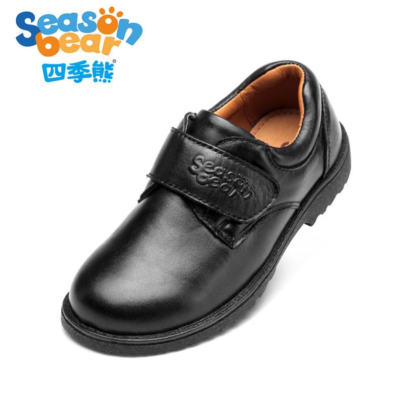 四季熊男童皮鞋春秋新款黑色儿童单鞋男孩休闲鞋学生英伦风小皮鞋