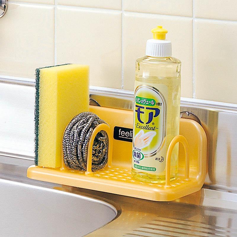 日本進口廚房分隔置物架吸壁收納架水槽壁掛吸盤瀝水洗碗布海綿架