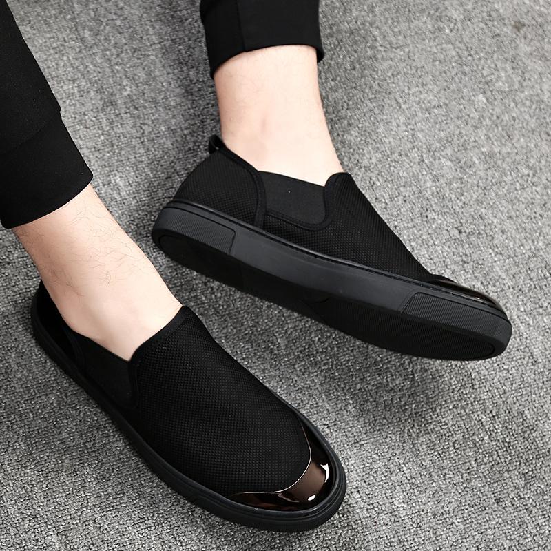 帆布鞋男鞋子潮鞋男鞋秋季2019新款休闲一脚蹬懒人布鞋百搭板鞋男