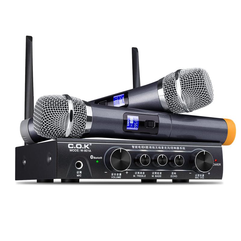 COK W-801无线话筒电视家用k歌家庭ktv手机蓝牙麦克风u段智能电视机全民k歌一体天籁k歌唱歌神器卡拉ok套装