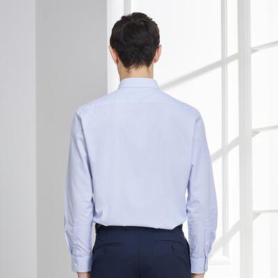 Youngor/雅戈尔春秋款男士免烫衬衫男条纹长袖衬衣男蓝色A002多色