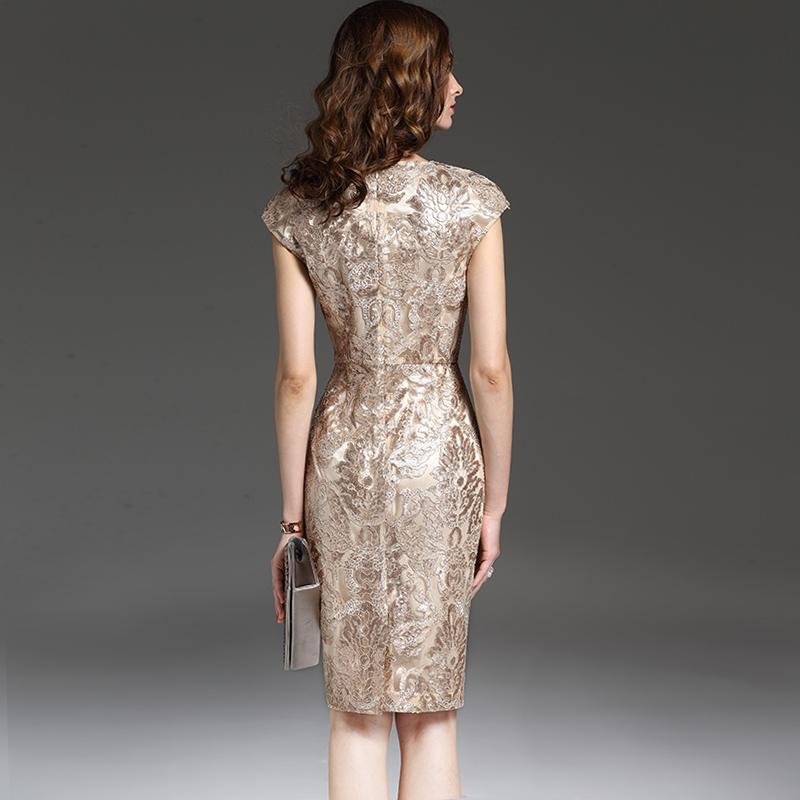颈袖添香2019夏季新款气质裙子中长款御姐风亮片礼服蕾丝连衣裙女
