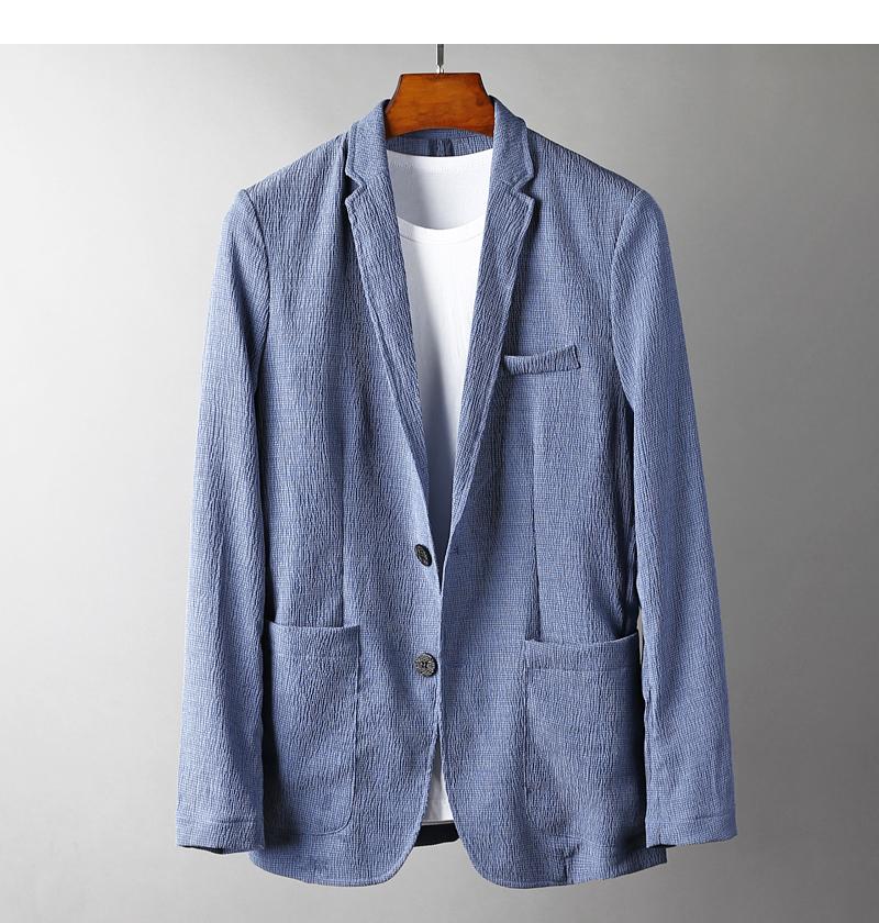 自然散发魅力西装天丝皱褶面料 薄款男士商务修身西装单西服外套