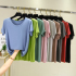 Modal t-shirt women's short-sleeved 2021 summer slim and thin lace base shirt solid color round neck cotton top