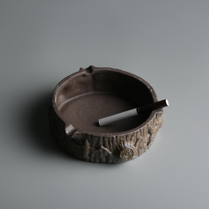 栖凤居 陶瓷烟灰缸 创意粗陶烟灰缸居家客厅办公室复古个性烟缸