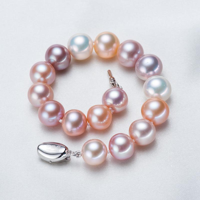 10  近正圆强光几乎无暇然 天淡水珍珠手链 珍珠鸟珠宝 9 11mm