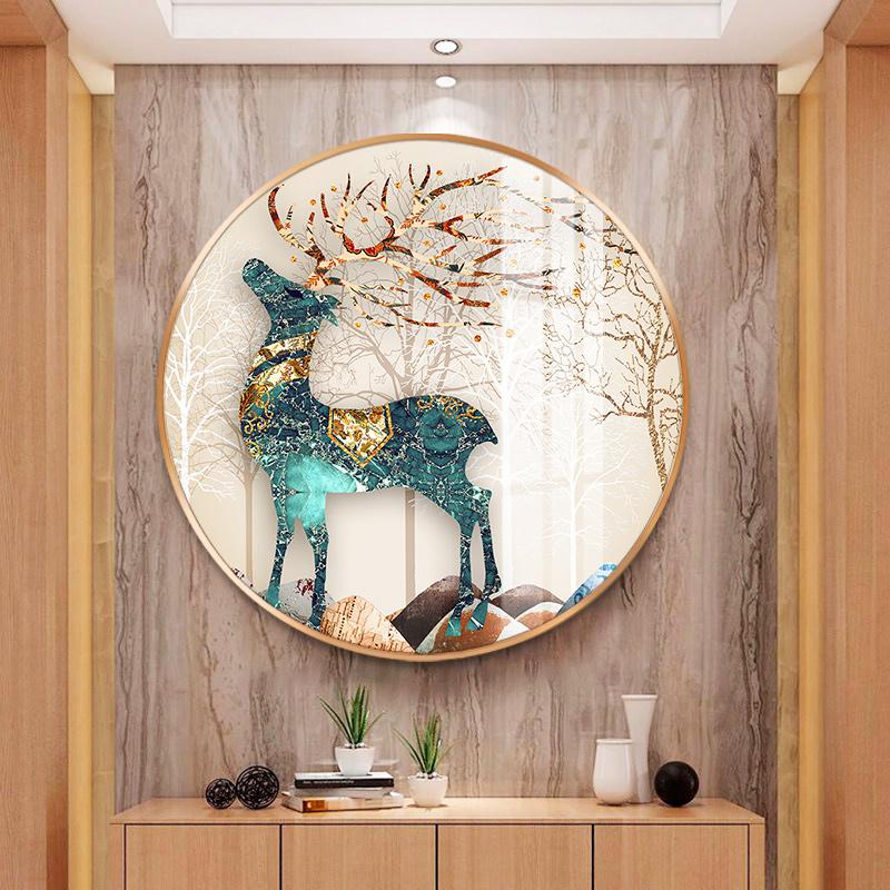 大圆形抽象鹿风景玄关背景墙装饰画晶瓷水晶壁画金属框晶钻镜面竖