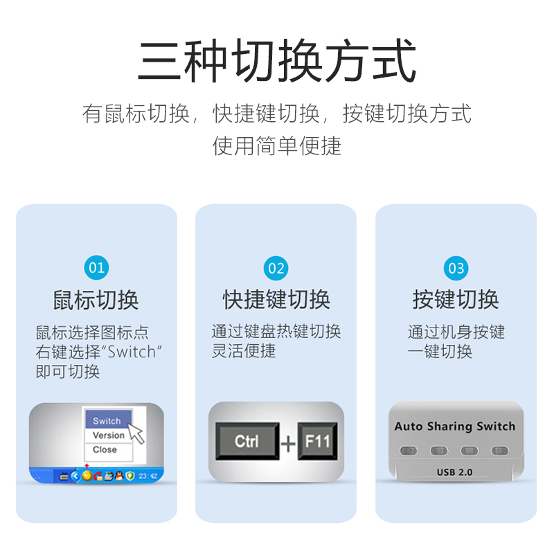 出鼠标键盘自动一拖四切换器 1 进 4 口分线器一分四打印线电脑 4 打印机共享器 USB 达而稳