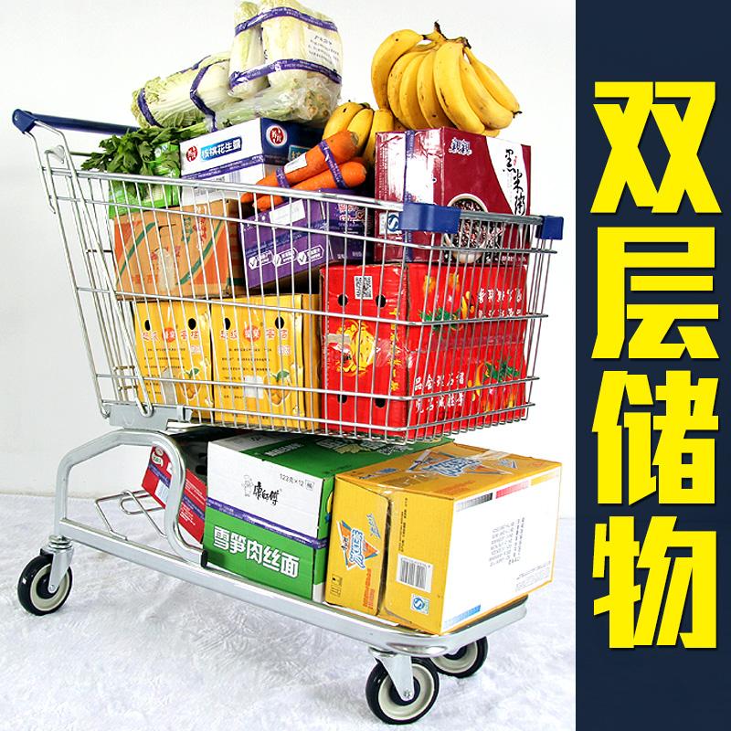 大容量商场手推车家用买菜车大人双层购物车超市 卓维超市购物车