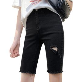 黑色牛仔短裤女夏高腰紧身直筒港味显瘦中裤外穿骑行裤网红五分裤