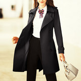 After the bird 2019 autumn and winter new style knee-length trench coat female mid-length early autumn temperament was thin atmosphere coat black coat