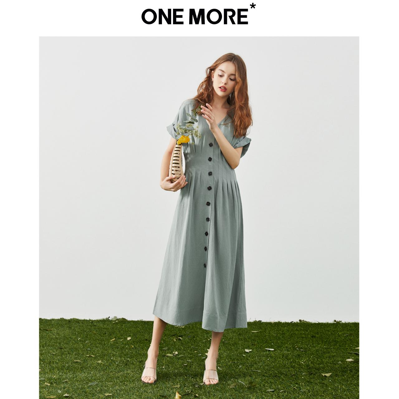 ONE MORE2020夏季新款法式连袖连衣裙设计感优雅气质长款裙子女装