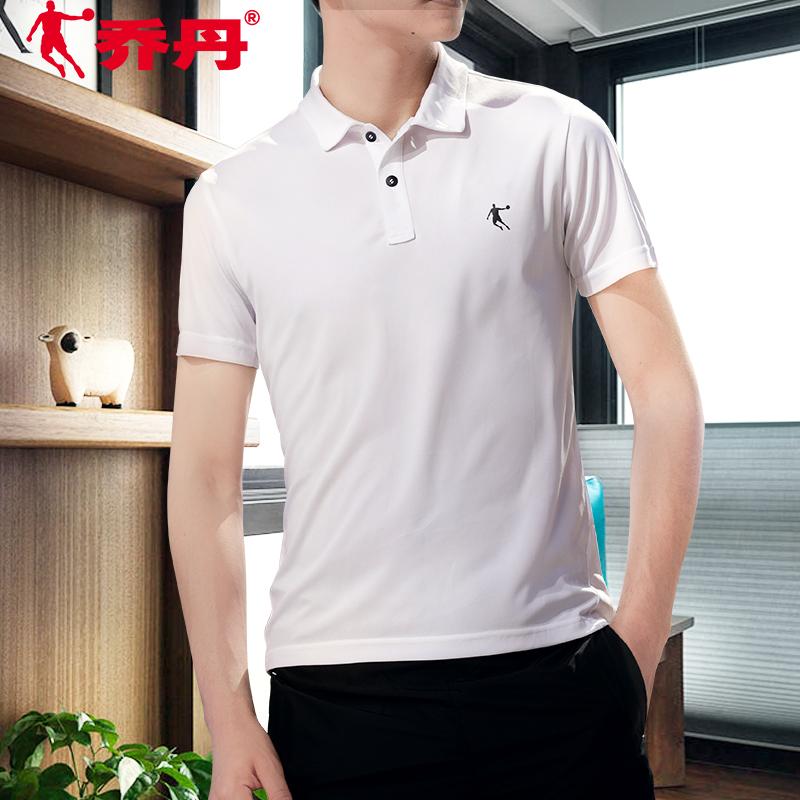 乔丹运动短袖男2019夏季新款速干半袖翻领polo衫男士白色运动t恤