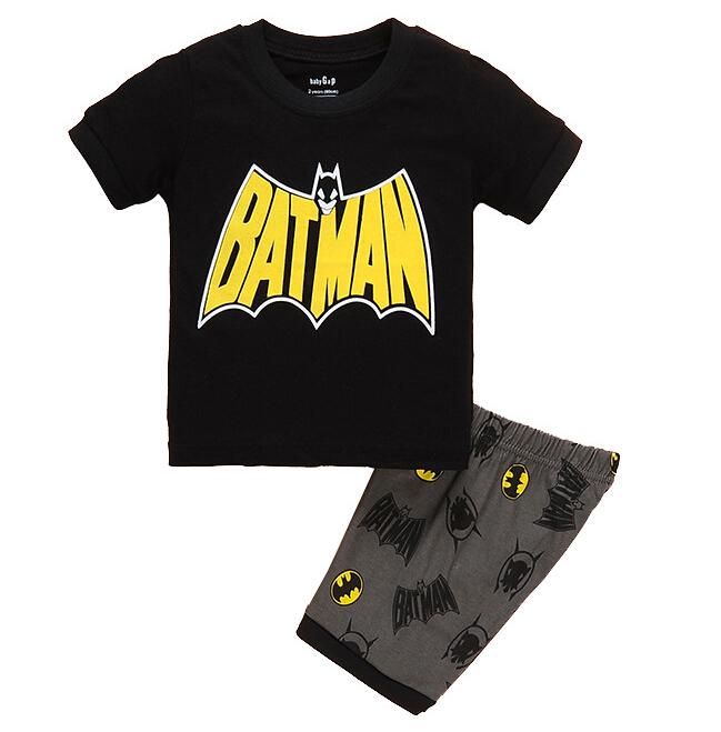 夏裝男童睡衣短袖純棉套裝中小兒童服家居兒童睡衣蝙蝠俠特價純棉