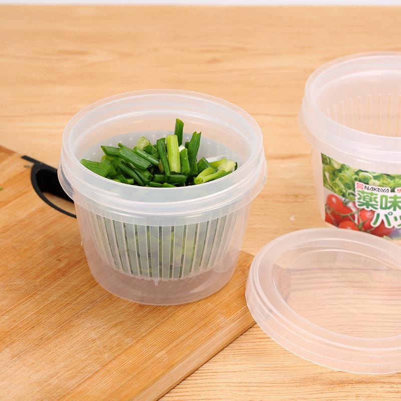 日本進口廚房蔥花薑蒜收納保鮮盒圓形冰箱瀝水水果便攜密封盒子