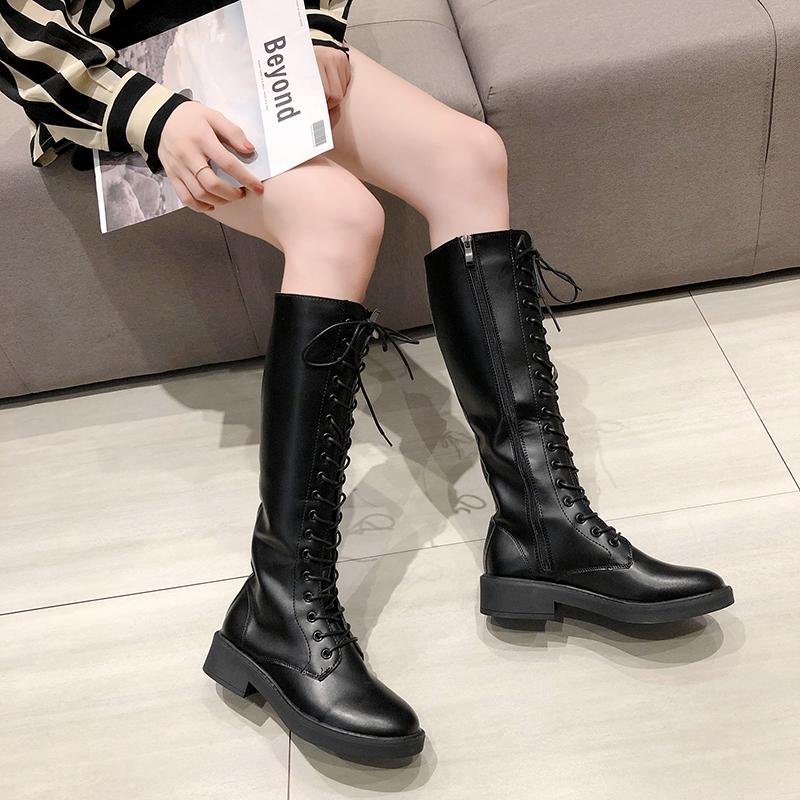 秋冬新款高筒骑士靴过膝长靴女粗跟长筒网红瘦瘦靴子 2019 马丁靴女