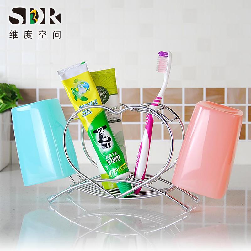 SDR創意可愛304不鏽鋼牙膏牙刷架套裝帶漱口杯 家庭情侶洗漱杯架