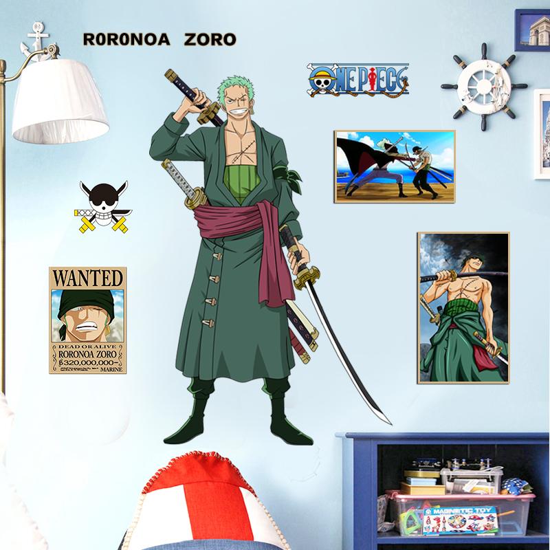 索隆路飛海賊王牆貼紙可移除 航海王懸賞令海報宿舍個性裝飾貼畫