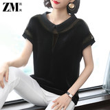 2020 new summer loose mesh gauze lapel t-shirt female short-sleeved black stitching doll collar compassionate polo collar top
