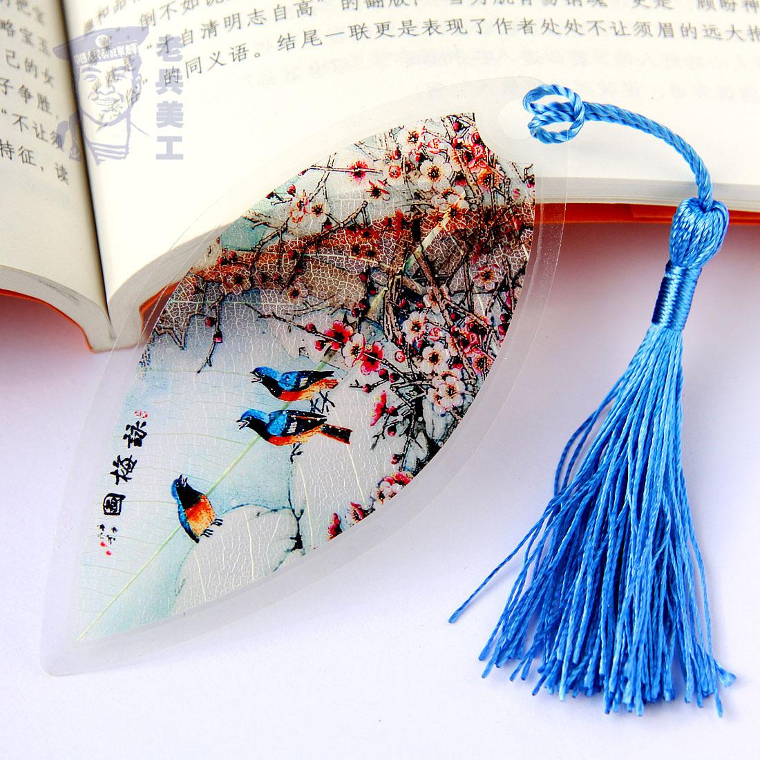 中国风花鸟画叶脉书签古典天然可爱创意女学生用小礼品生日小清新