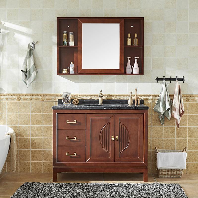卫浴现代新中式浴室柜组合落地洗手洗脸盆柜实木卫生间洗漱台定制