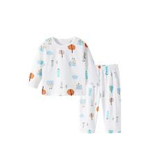 宝宝夏季纯棉薄款长袖分体套装睡衣