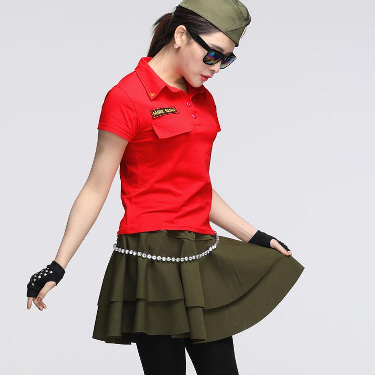 夏季新款范儿水兵舞服装女演出套装短袖T恤迷彩短裙格格广场舞