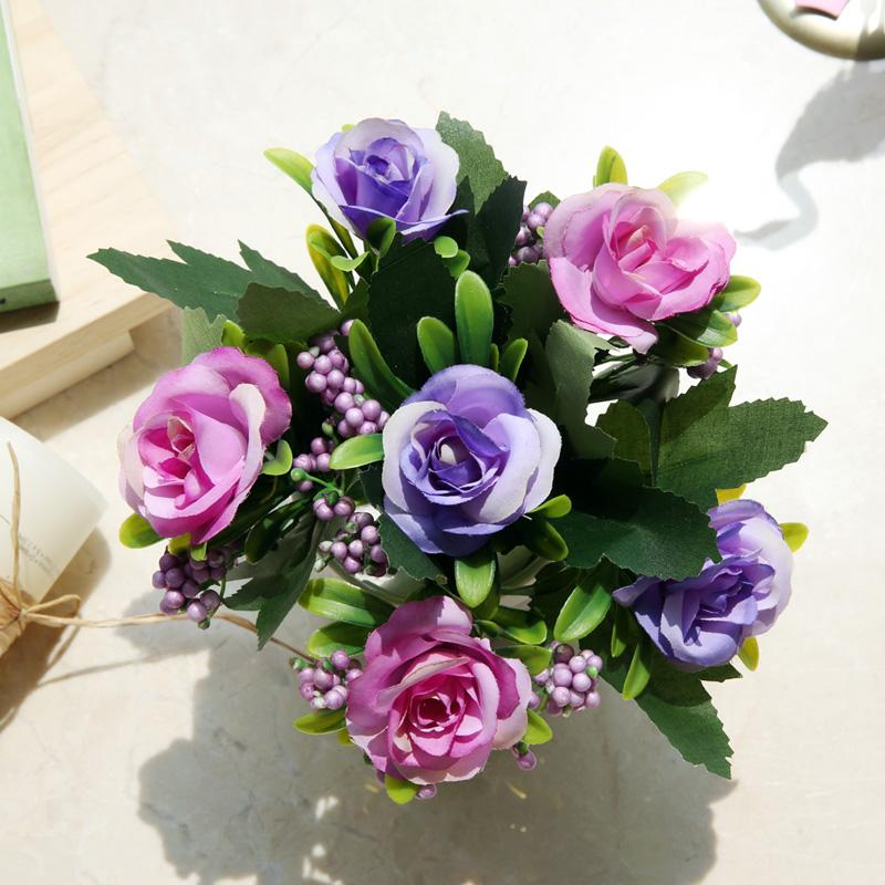 迷妆 绢花干花花束塑料假花仿真花套装摆件 装饰客厅家居小花盆栽