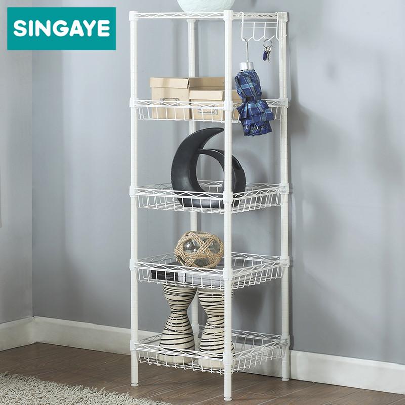 心家宜 廚房置物架 冰箱側邊儲物架客廳置地式多功能收納架浴室架