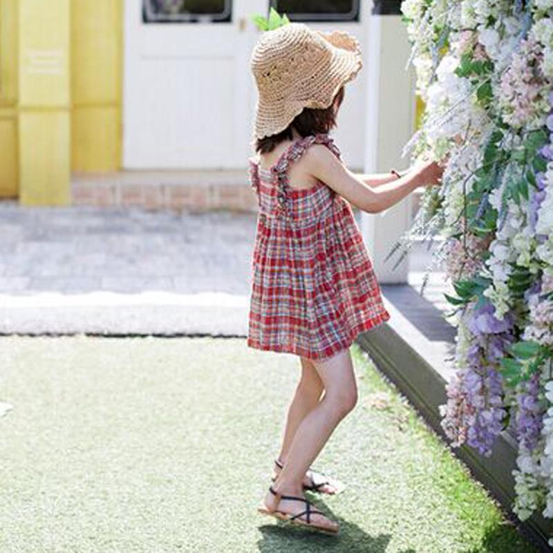 女童夏季新款儿童吊带格子裙小女童韩版纯棉背带裙亲子无袖连衣裙