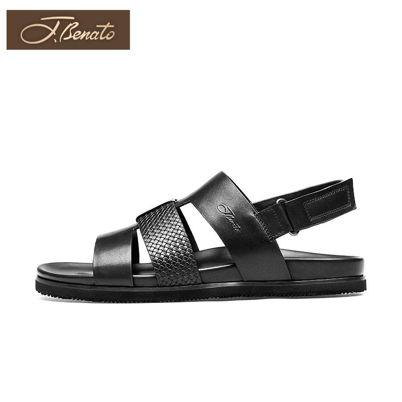 宾度男鞋夏季男士凉鞋男潮真皮沙滩鞋男透气露趾鞋凉皮鞋子时尚