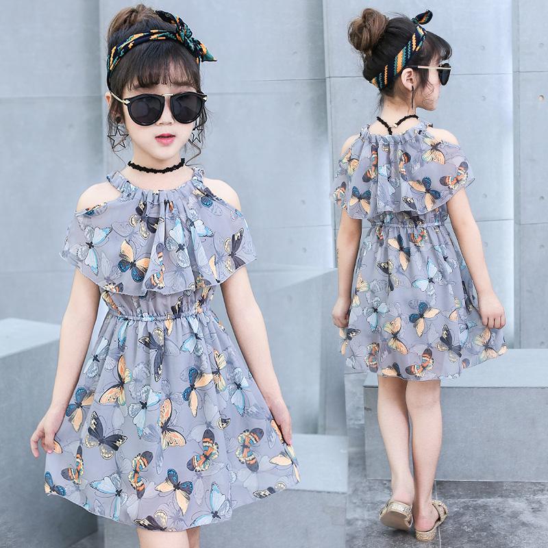 女童连衣裙夏装2019新款韩版中大童时尚夏季雪纺公主裙小女孩裙子